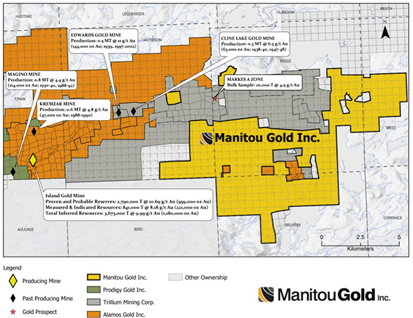 Manitou Gold Acquisition map